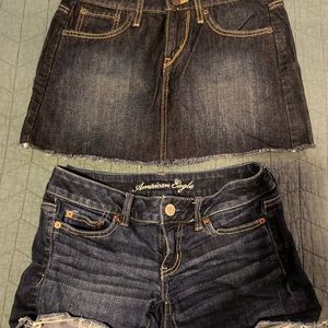 Levi's cutoff skirt and American Eagle shorts